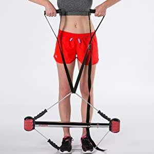 Back Rows with Bodyweight Suspension Fitness Trainer and Home Gym