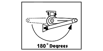 180 degree door opening rotary hydraulic roto closer