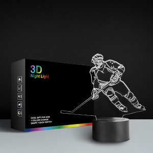 Hockey Player 3D Lamp Night Lights Kids Desk Toys Christmas Gifts  Xmas Decoration Sports Fan