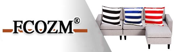 FCOZM Home Decorative Cotton Square Throw Pillow Cover Cushion Case Stripe Toss Pillowcase