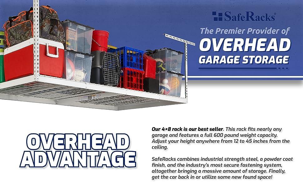 saferacks overhead garage storage racks steel adjustable organization