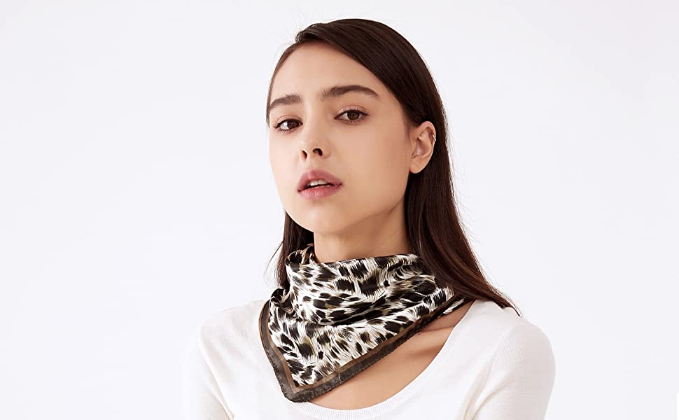 Dolland Lightweight Neckerchief Square Dot Striped Scarf Head Scarf for Women s Favors,Black