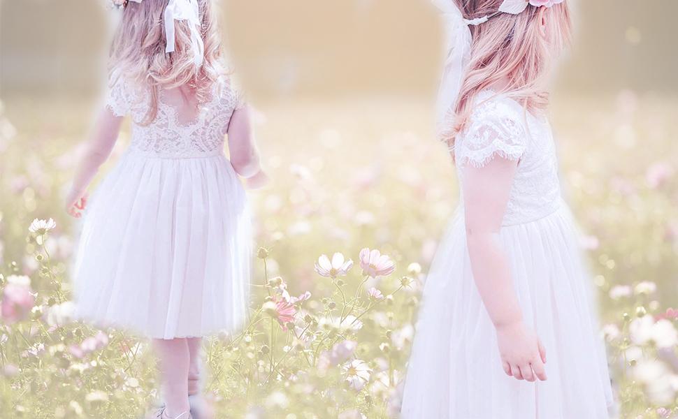 Toddler Girls Cap Sleeve Floral Lace Elegant V-Backless Dress Baby Tutu Tulle Party Dresses