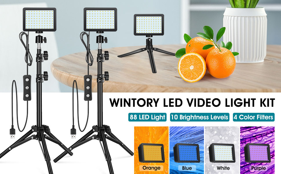 Wintory W88 LED Video Light with Adjustable Tripod Stand, Mini Tripod and Color Filters