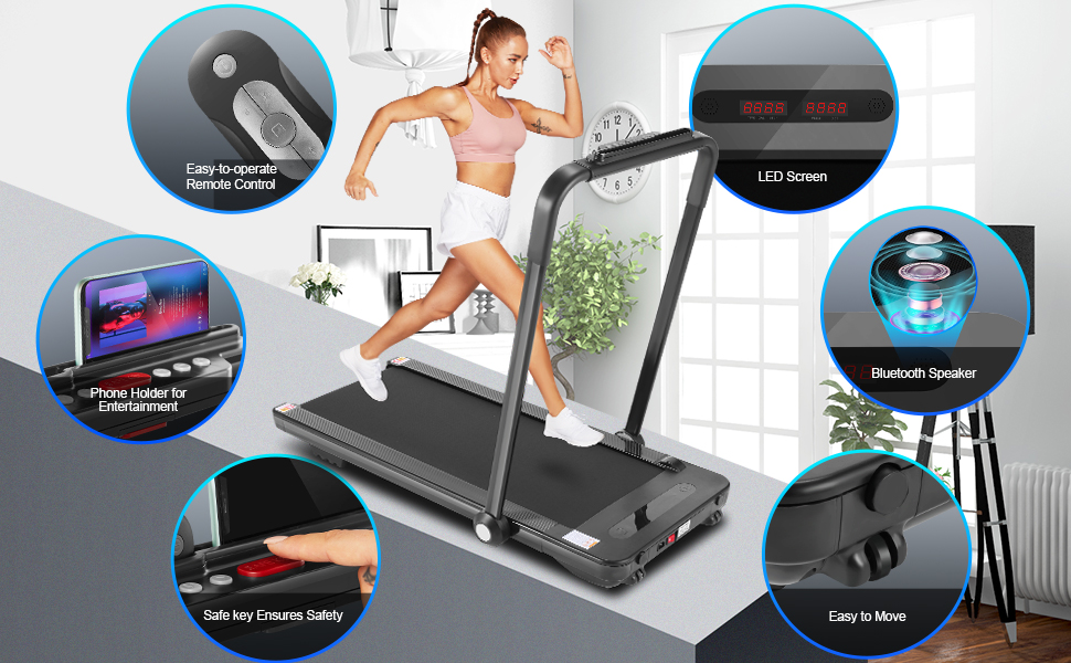 Multifunctional treadmill foldabl design save sapce