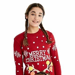 Niños Navidad Jersey de punto Reno Copo de nieve Bambi Pom Pom Feliz Cuello superior Invierno Casual