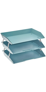 acrimet facility letter tray 3 tier side load solid green color