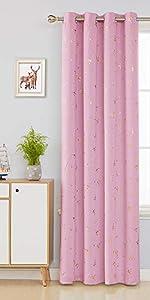 Deconovo Rideau Rose /à Oeillets Thermique Isolant Rideau Chambre Adultes Design Moderne pour Enfant en Salon Rideau Grande Largeur 203x213cm