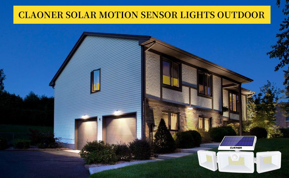 Claoner Luz Solar Exterior 132 LED Foco Solar con Sensor de Movimiento Lámpara Solar de Seguridad Impermeable IP65 360 ° Ajustable para Entrada Garaje Patio y Jardín: Amazon.es: Hogar