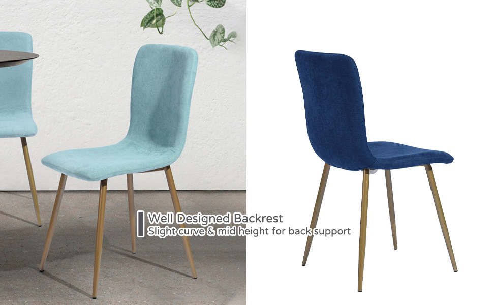 Curved Backrest Mid Height Backrest Dining Chair