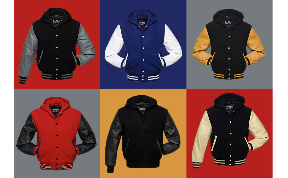 Stewart and Strauss Letterman Jackets Wool and Leather Hoodies