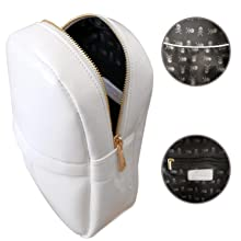 Women mini backpack detachable wing front and inside pocket purse bag White Patent Amazon A+