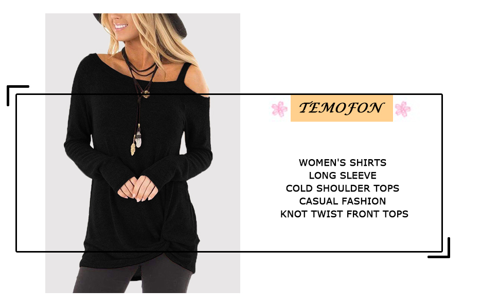 TEMOFON Womens Shirts Cold Shoulder Tops Long Sleeve//Short Sleeve Casual Fashion Knot Twist Front Blouse T-Shirt S-2XL