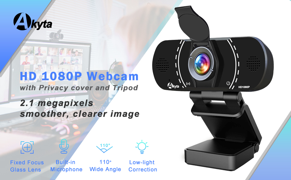 Flashandfocus.com 19e2a2cf-320c-43b9-bb1e-843a9cf34236.__CR0,0,970,600_PT0_SX970_V1___ Akyta Webcam with Microphone, HD Webcam 1080P Stream Web Camera for Computers MAC Laptop PC Video Conference/Calling…