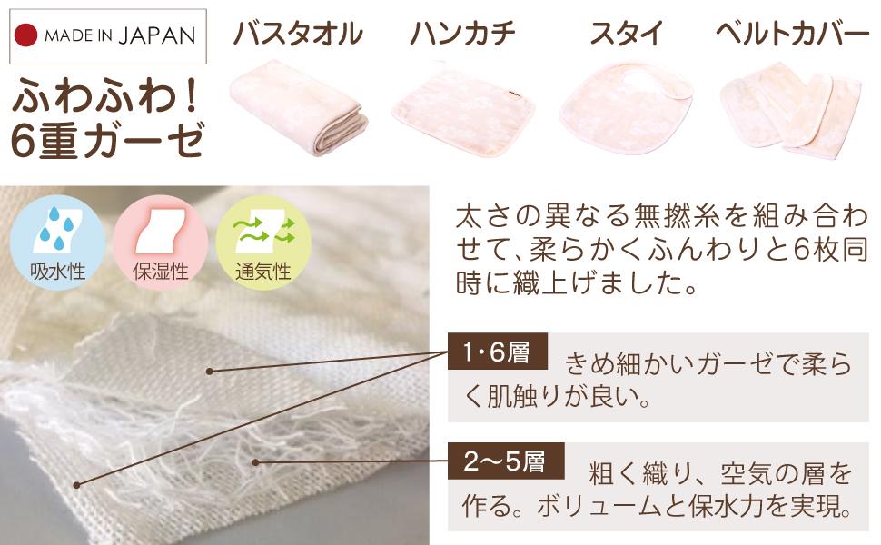 洗うたびにふわふわ!6重無撚糸のガーゼアイテム