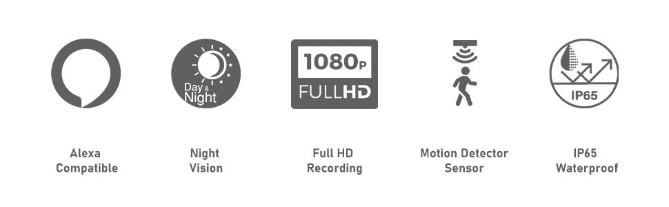 alexa compatible night vision full HD motion detector sensor IP65 weather proof 1080P