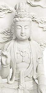Quan Yin Avalokiteshvara on Lotus Pedestal Marble-Finish Statue