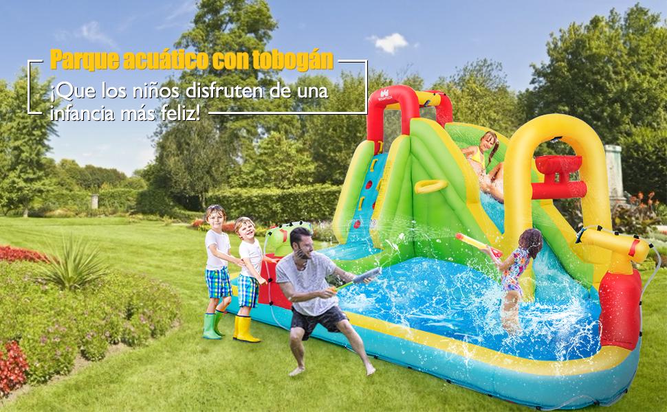COSTWAY Parque Acuático Centro Juegos Hinchable con Tobogán ...