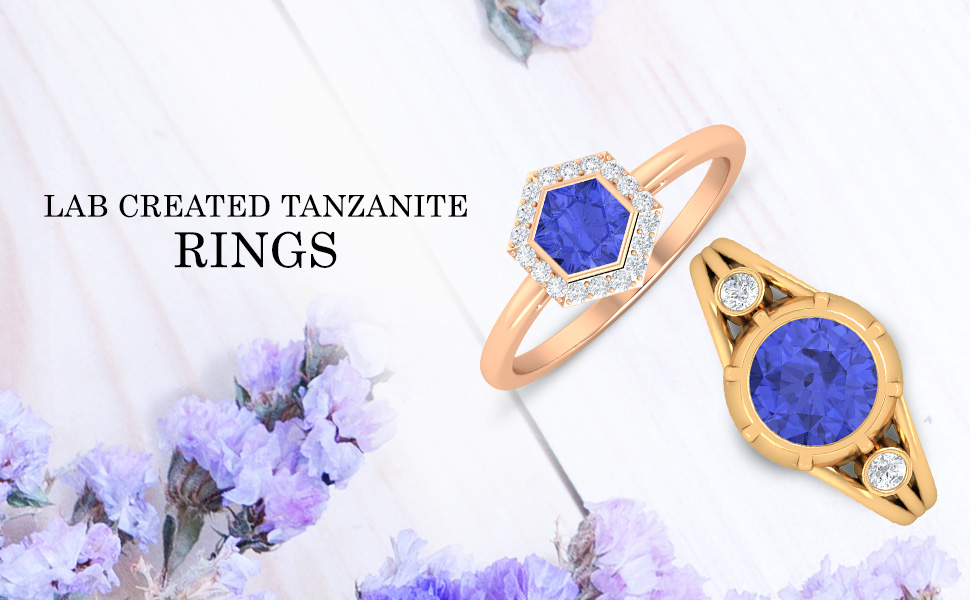 banner Lab Created Tanzanite Rings