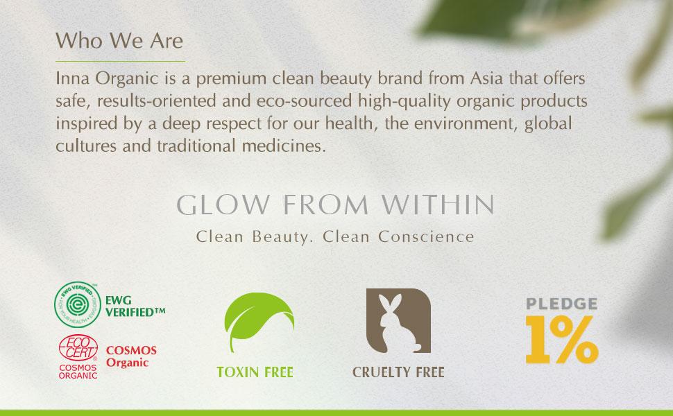 Inna Organic luxury clean beauty green toxin cruelty free ewg cosmos pledge 1% environment