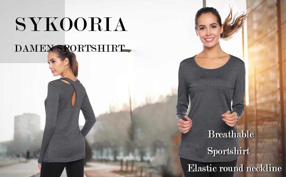 Top Sportivo Donna Sykooria T-Shirt Donna con Scollo Tondo
