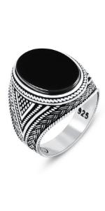 Black Onyx Silver Ring with Eastern Motifs