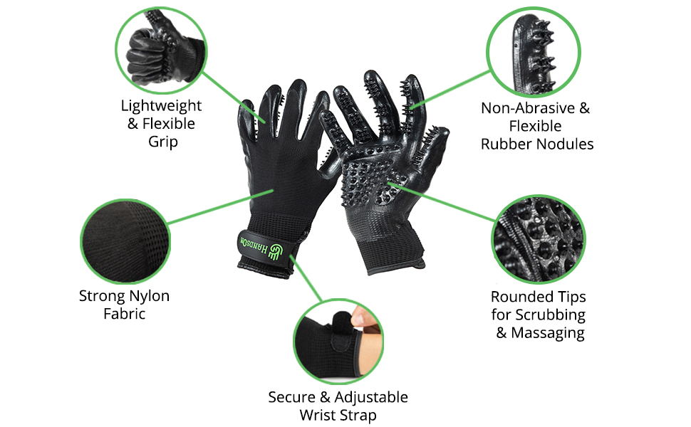 flexible, lightweight, non-abrasive nodles and rounded tips, strong nylon & a secure wrist fastner