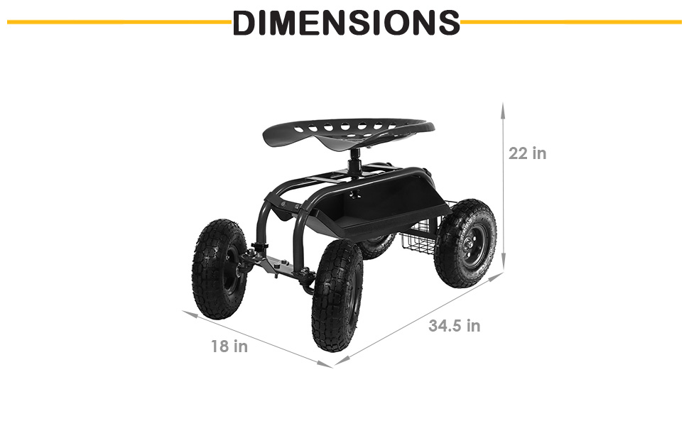 34.5 inch long x 18 inch wide x 22 inch high, weighs 29 pounds, 300 pound weight capacity