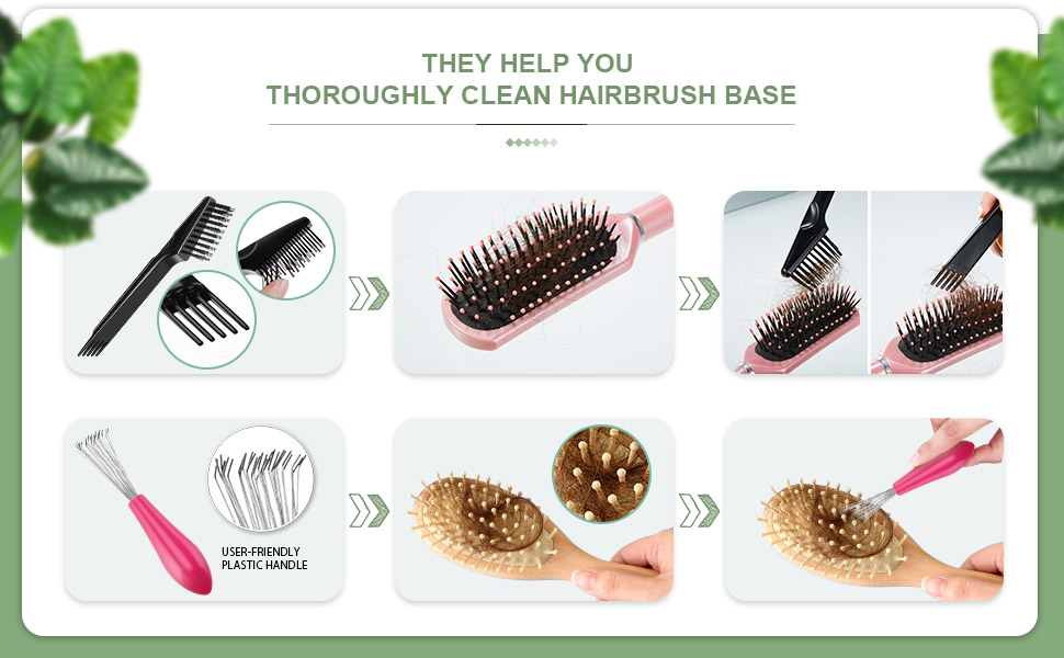 2 Pieces Hair Brush Cleaning Tool Comb