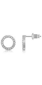 halo circle round stud earrings for women cz diamond wedding gift girls womens hoops circle of life