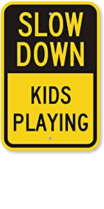 Nautical Wave Heavy-Duty Outdoor Vinyl Banner 12x3 CGSignLab Slow Down Children Playing