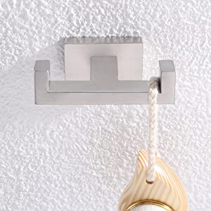 double robe hook attached to the wall