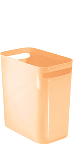 Slim Plastic Rectangular Small Trash Can Wastebasket, Garbage Container Bin with Handles Large