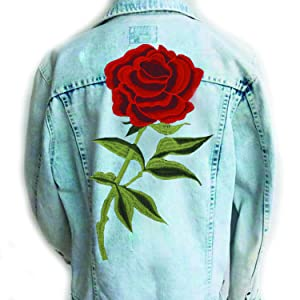 Amazon.com: Megrocle 2 PCS Rose Flower Embroidered Iron On Patches ...