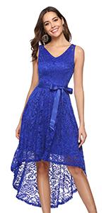 BeryLove Women's Floral Lace Hi-Lo Bridesmaid Dress V Neck Cocktail Formal Dress
