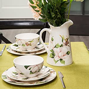 bico magnolia floral dinnerware with pitcher