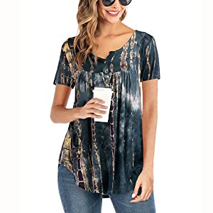 AMCLOS Womens Tie-Dye Tops V Neck Soft T-Shirts Flowy Tunic Button up Casual Blouses Summer Short Sleeve