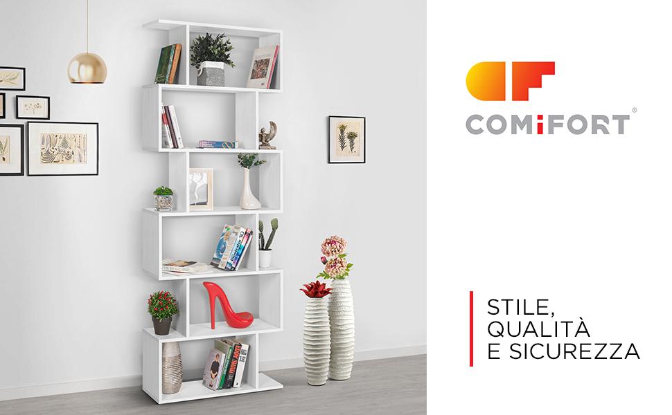 con 7 Mensole di Gran Capienza Libreria Stile Nordico Moderna e Minimalista di Colore Bianco COMIFORT Libreria a Muro Robusta e Resistente
