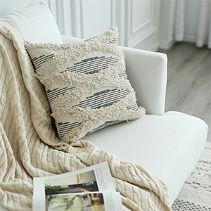 lumbar throw pillow cover tufted couch chair decorative pillow case white ivory cream white beige