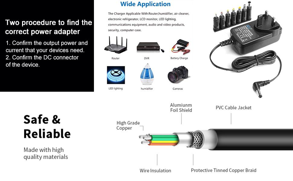 Universal 15V 2A AC to DC 5.5x2.1mm Converter Cable 6.5x4.4mm 5.5x2.5mm 2.5x0.7mm 3.5x1.35 4.0x1.7
