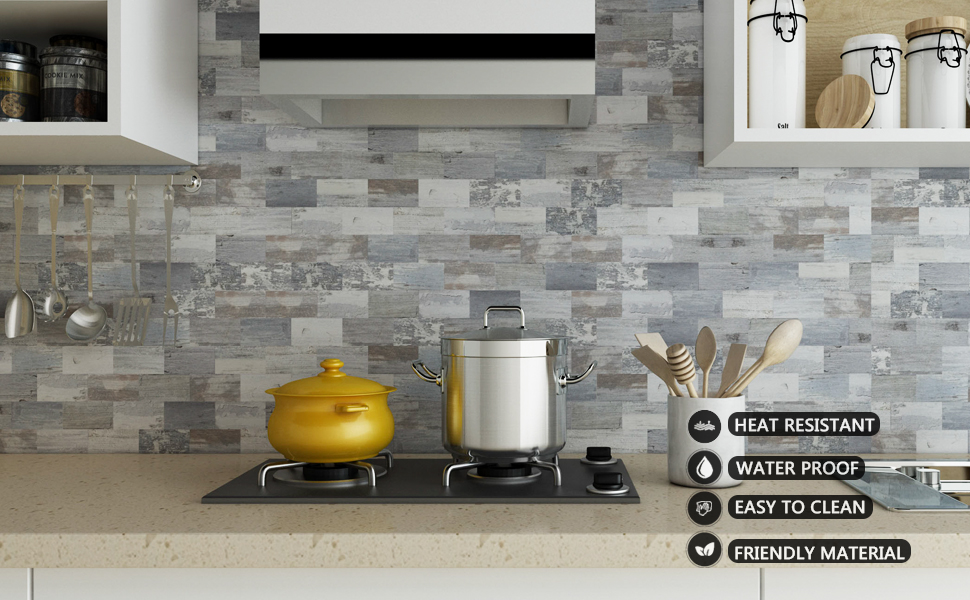 Amazon Com Peel And Stick Backsplash Pvc Wall Tile Stickon Tile For Kitchen Backplash Bathroom Vanities Fireplace Décor Laundry Table Stair Decals In Ecru Gneiss 11 59 X 11 35 5 Sheets Home Improvement