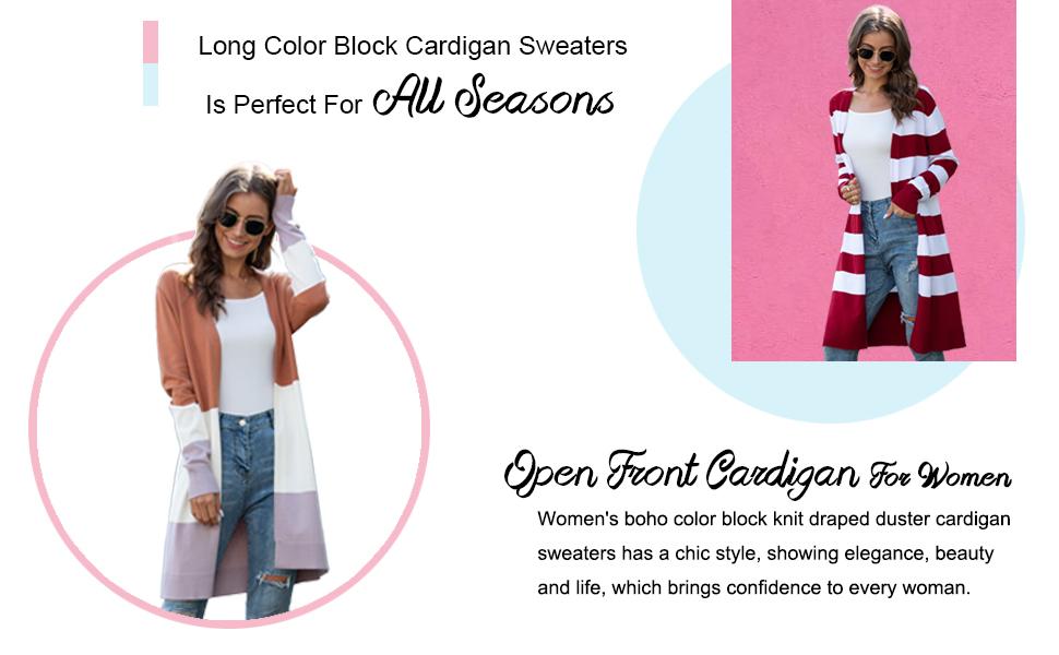 color block long sleeve cardigans