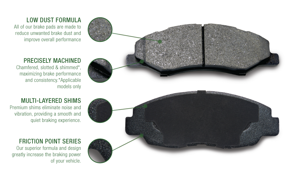 brake pads, chamfered, shims, friction, low-dust, noise free, quiet, silent, hardware, clips, shims