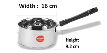 Sumeet Stainless Steel Induction Bottom Encapsulated Bottom Induction & Gas Stove Friendly Sauce Pan