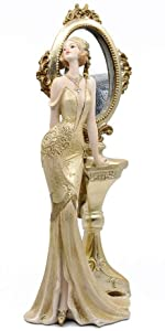 Golden Dress Lady Standing with Dreseer