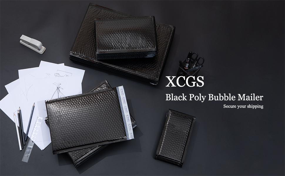 XCGS Black Poly Bubble Mailer