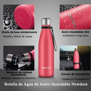 Newdora Botella de Agua Acero Inoxidable 500ml, Aislamiento de ...