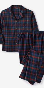 KingSize Mens Big /& Tall Jersey Knit Plaid Pajama Set