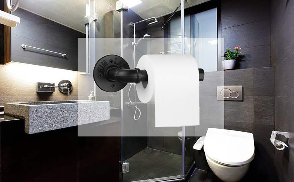 Rustic Industrial Pipe Toilet Paper Holder