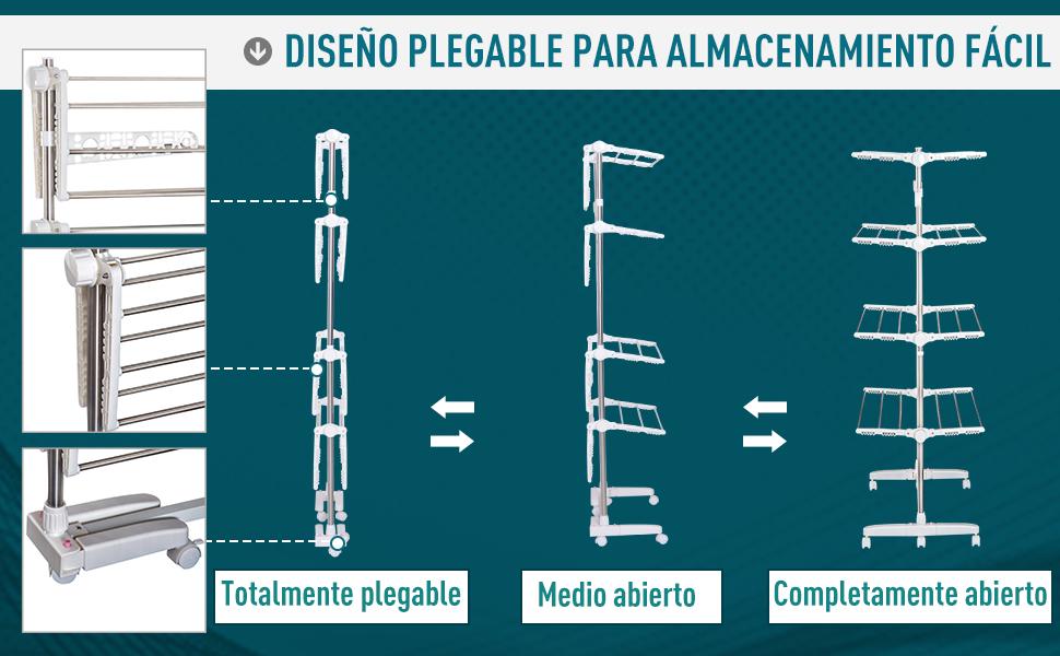 HomCom Tendedero de Ropa Tipo Colgador Móvil Blanco y Acero Inoxidable (80-142) x55x178 cm